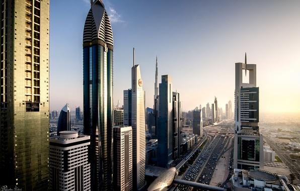 Картинка город, дома, вечер, Дубай, Dubai, ОАЭ, Автомагистраль имени шейха Заеда