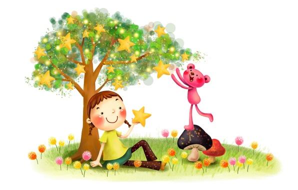 Картинка трава, детство, улыбка, фантазия, дерево, рисунок, грибы, звёзды, девочка, косички, одуванчики, лужайка, зверёк