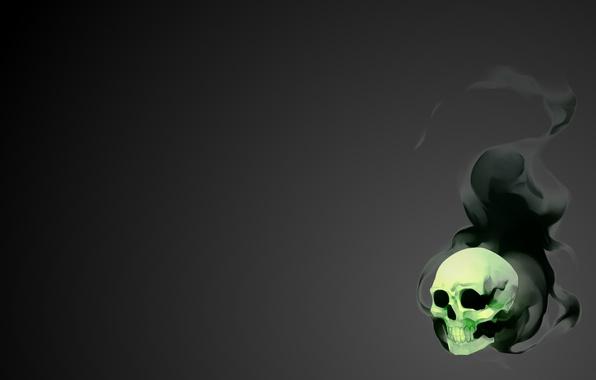 Картинка Черный, Череп, Дым, Зеленый, Light, Арт, Свечение, Black, Skull, Фантастика, Smoke, Dirk, Gray, Minimalism, Soft, …