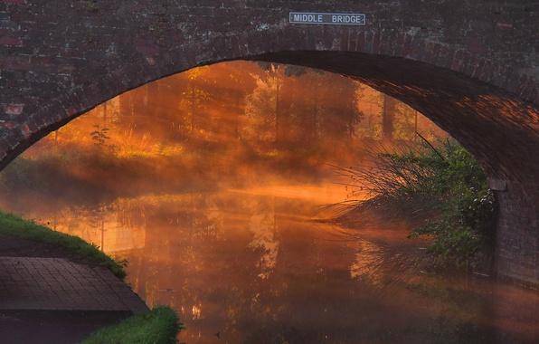 Картинка закат, мост, туман, река, арка