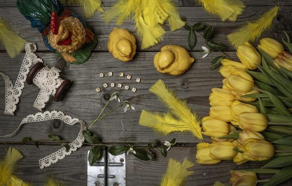 Картинка цветы, стиль, Пасха, тюльпаны, натюрморт, кружево, тесьма, пёрышки