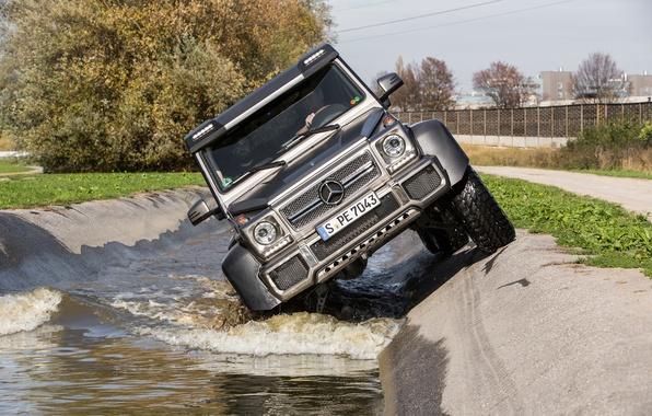 Картинка вода, внедорожник, Mercedes, AMG, G63, 6x6