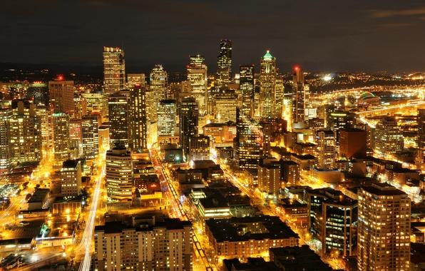 Картинка огни, здания, небоскребы, подсветка, Сиэтл, USA, США, ночной город, Washington, Seattle, штат Вашингтон