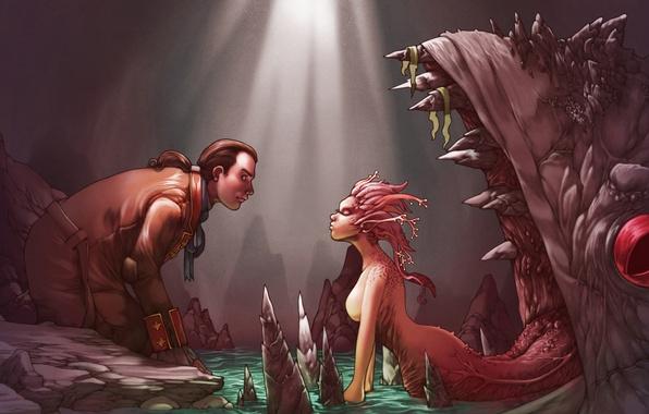 Картинка язык, девушка, монстр, пасть, пещера, ловушка, парень, приманка, чудовище