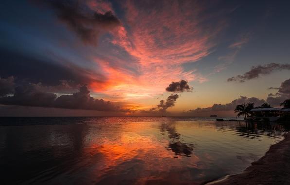 Картинка пляж, пальмы, океан, рассвет, курорт, бунгало
