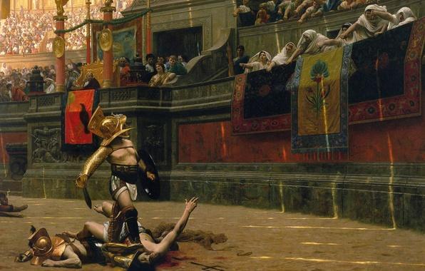 Картинка песок, кровь, толпа, картина, воин, шлем, битва, боец, арена, колизей, империя, fight, поединок, rome, рим, …