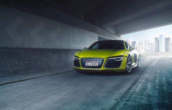 Картинка Audi, Quattro, Yellow, V10, Supercar, Plus, Front, Folienwerk, Bodensee