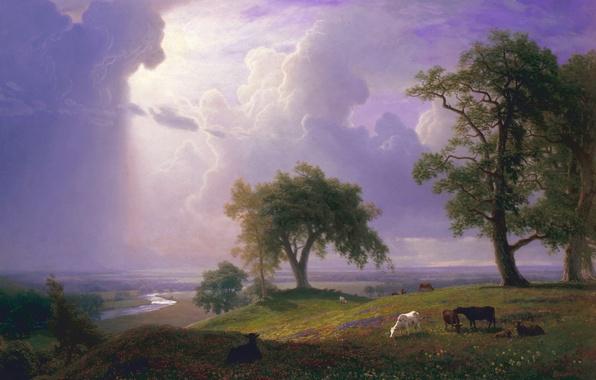 Фото обои деревья, пейзаж, тучи, река, картина, Альберт Бирштадт, Весна в Калифорнии