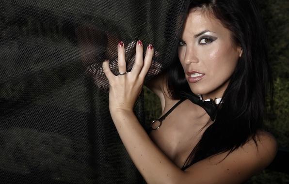 Картинка взгляд, девушка, бабочка, модель, брюнетка, кольцо, girl, Nella, sexy, занавес, eyes, butterfly, model, ring, brunette, …