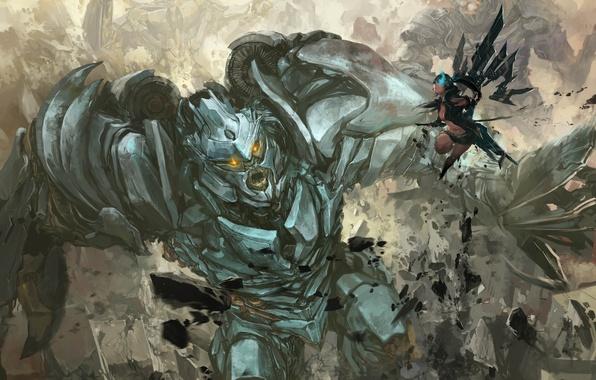 Картинка Black Rock Shooter, anime, art, crossover, Megatron, Transformers, Decepticon