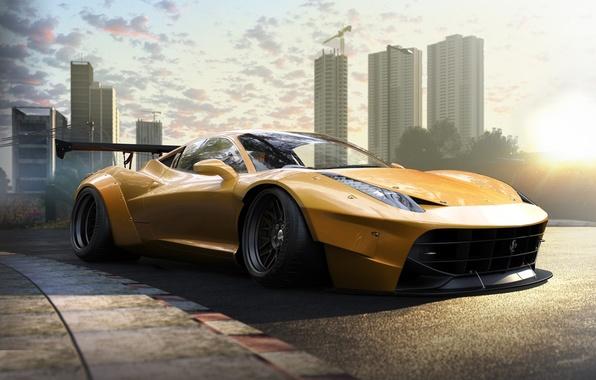 Картинка Ferrari, 458, Front, Yellow, Tuning, Italia, Supercar, Wheels, Track, Spoiler, DRAG