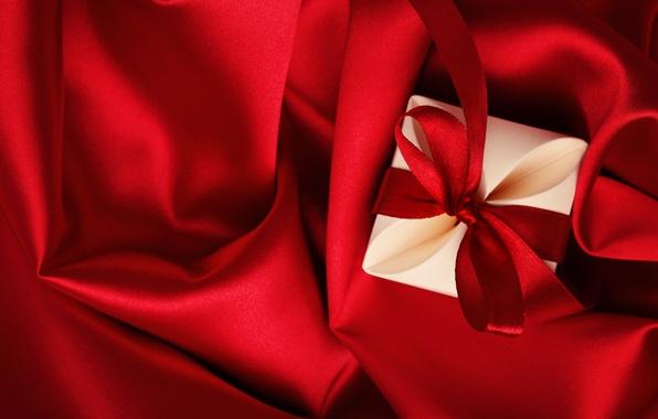 Картинка любовь, подарок, red, love, heart, romantic, silk, Valentine's Day