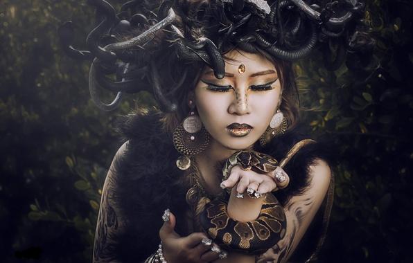 Картинка змеи, девушка, стиль, модель, макияж, азиатка, Медуза Горгона