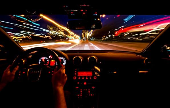 Картинка ночь, движение, Audi, выдержка, light, салон, night