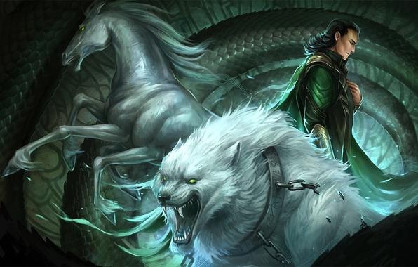 Картинка конь, волк, чешуя, арт, цепь, змей, ошейник, парень, Loki, Sandara