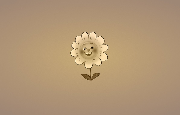 Картинка цветок, улыбка, растение, минимализм, ромашка, листочки, темноватый фон