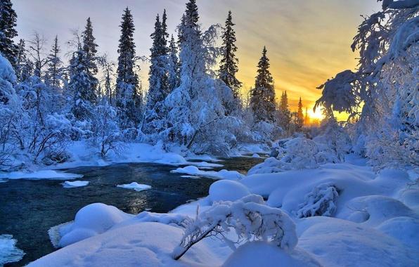 Картинка лед, небо, облака, снег, деревья, пейзаж, закат, природа, дерево, вид, цвет, colors, ice, river, sky, …