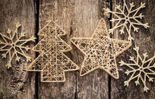 Картинка зима, снежинки, фон, дерево, игрушки, звезда, елка, Новый Год, Рождество, декорации, ёлочка, Christmas, золотые, звёздочка, …