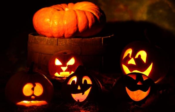 Картинка праздник, тыквы, банда, хэллоуин, halloween, night