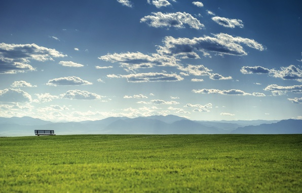 Картинка зелень, лето, небо, трава, облака, свет, горы, скамейка, природа, пейзажи, гора, весна, даль, облако, горизонт, …