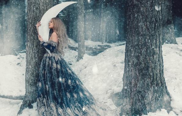Картинка зима, лес, девушка, снег, деревья, волосы, мило, месяц, платье, фея, снегопад, сказочно, обои от lolita777