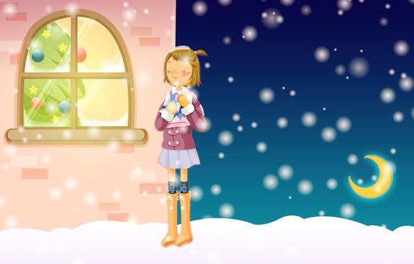 Картинка зима, мечта, снег, уют, подарок, улица, новый год, рождество, мороз, девочка, ёлка