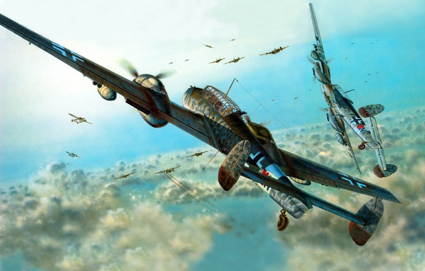 Картинка истребитель-бомбардировщик, Messerschmit, Bf-110, ночной истребитель