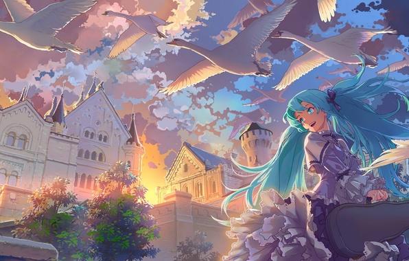 Картинка небо, облака, закат, птицы, аниме, арт, vocaloid, hatsune miku, лебеди, geister