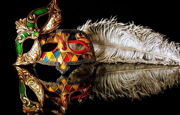 Картинка отражение, перо, карнавал, маски, чёрный фон
