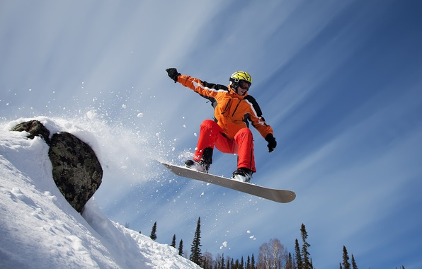 Картинка снег, горы, сноуборд, спорт