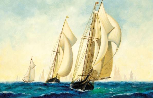 Картинка море, корабли, арт, флот, painting, эскадра, парусников.