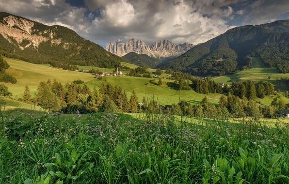Картинка трава, деревья, горы, поля, долина, Италия, домики, Italy, Dolomites, Доломиты, Санта Магдалена, St.Magdalena