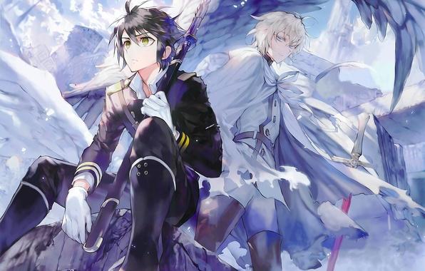 Картинка крылья, меч, разрушение, перчатки, вампир, друзья, art, военная форма, Owari no Seraph, Yuuichirou Hyakuya, Michaela …