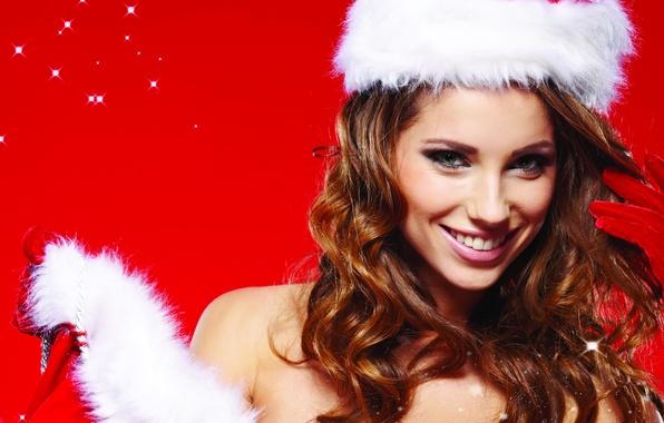 Картинка взгляд, девушка, улыбка, перчатки, снегурочка, шатенка, шапочка, локоны