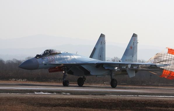 Картинка истребитель, парашют, Су-35, реактивный, многоцелевой