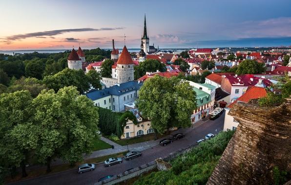 Картинка дорога, здания, Эстония, Таллин, панорама, Tallinn, Estonia, Old Town