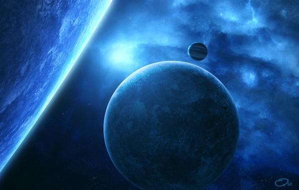 Картинка космос, звезды, туманность, планеты, спутник, арт, QAuZ