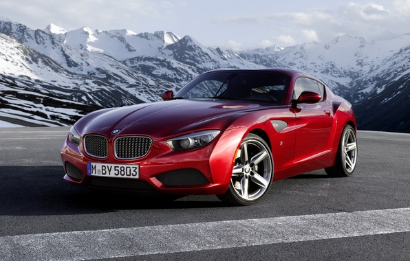 Картинка небо, красный, купе, BMW, БМВ, Coupe, передок, Zagato, Загато, горы.облака