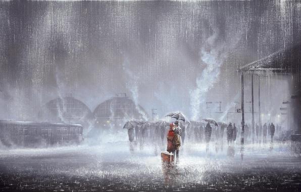 Картинка любовь, люди, дождь, женщина, встреча, вокзал, поцелуй, картина, вагон, зонтики, мужчина, чемодан, двое, Jeff Rowland