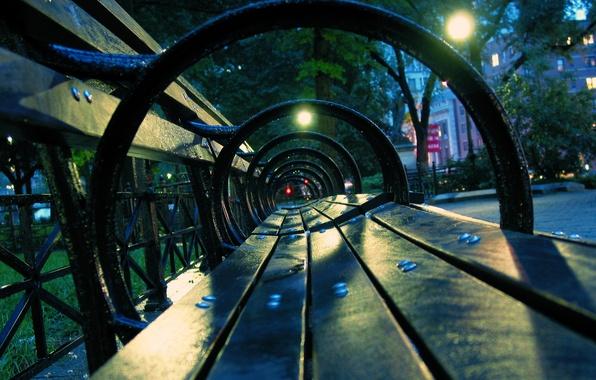 Картинка скамейка, ночь, улица, фонари, дождя, после