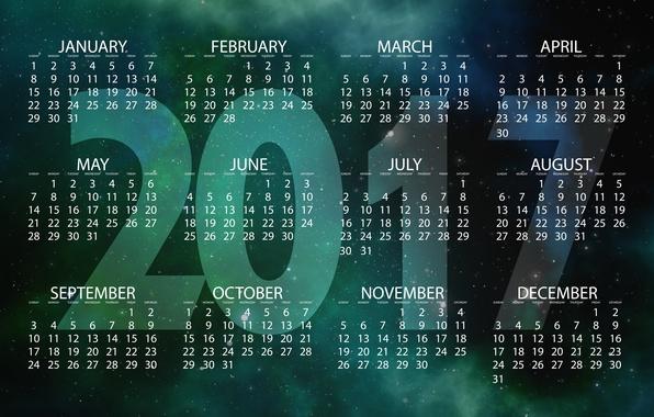 Картинка космос, звезды, фон, вселенная, графика, новый год, вектор, цифры, календарь, год, дата, звездное небо, месяца, ...