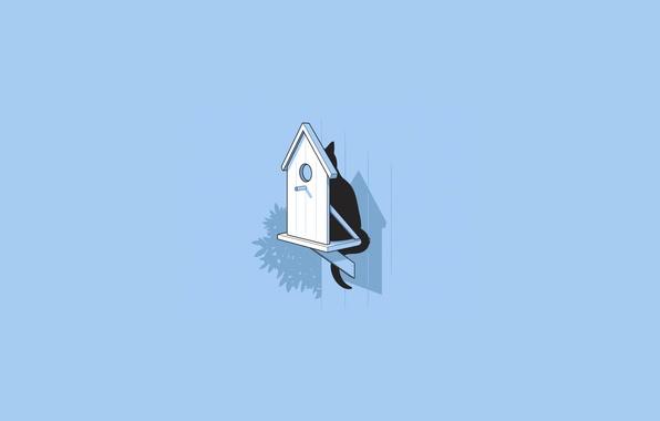 Картинка кошка, кот, минимализм, засада, скворечник, охота