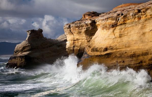 Картинка море, волны, природа, скалы, стихия, прибой, утес