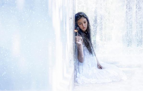 Картинка холод, снег, огонь, пламя, лёд, спичка, девочка