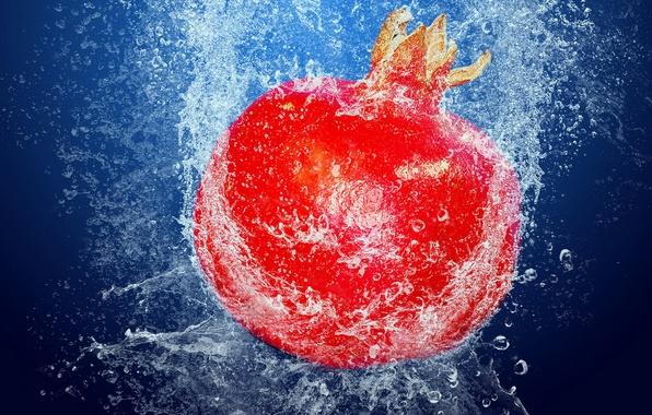 Картинка вода, пузырьки, еда, фрукт, Гранат