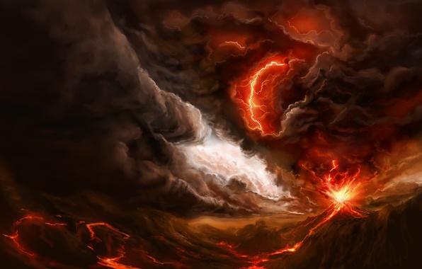 Картинка гроза, тучи, огонь, молния, дым, гора, буря, вулкан, арт, извержение, лава