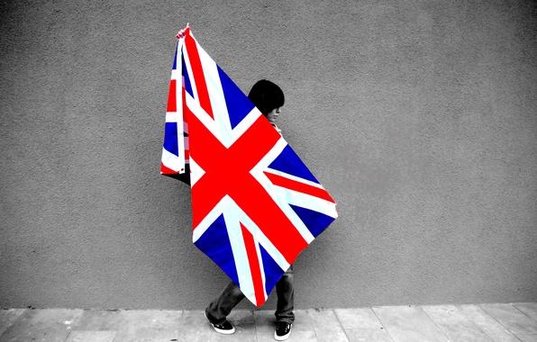 Картинка девушка, стена, флаг, girl, wall, britain flag