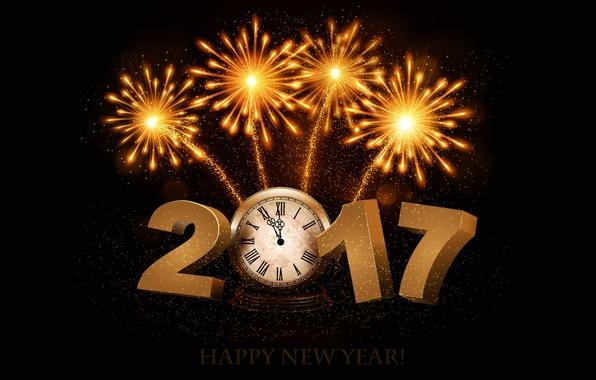 Картинка время, огни, фон, праздник, стрелки, черный, графика, часы, новый год, салют, цифры, фейерверк, золотой, циферблат, …