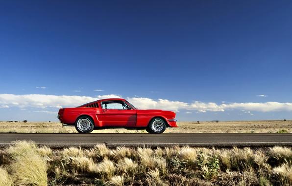 Картинка дорога, поле, небо, трава, облака, холмы, Mustang, Ford, горизонт, колеса, 1965, солнечный, сторона