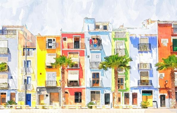 Картинка город, рисунок, дома, акварель